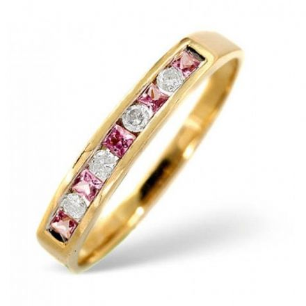18K Gold 0.09ct H/si Diamond & Pink Sapphire Ring, L2174